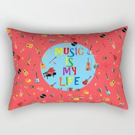 Music is my life (Soft red) Rectangular Pillow