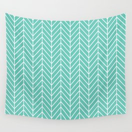 Turquoise Herringbone Pattern Wall Tapestry