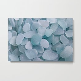 Aqua Sea Glass - Up Close & Personal Metal Print