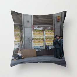 Streets of Madrid Throw Pillow