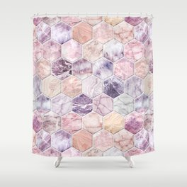 Rose Quartz and Amethyst Stone and Marble Hexagon Tiles Shower Curtain