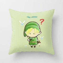 Hey Listen! Cute Link From Zelda Kawaii :) Throw Pillow