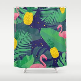 Flamingoes in the Starlight Shower Curtain