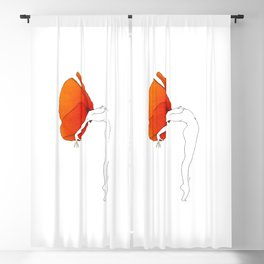 Poppy Girl · Flower Woman drawing, orange red, white background, simple line Blackout Curtain