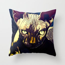 sphynx cat from hell vafn Throw Pillow