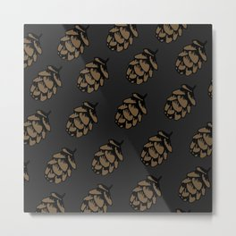 Black Pinecone Pattern Metal Print