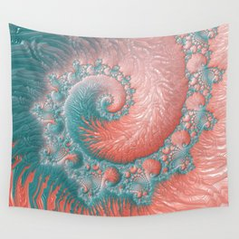 Living Coral Teal Blue Spiral Swirl Pattern Abstract Coral Reef Fractal Wall Tapestry