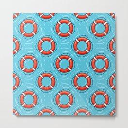 Lifebuoy on blue water pattern Metal Print
