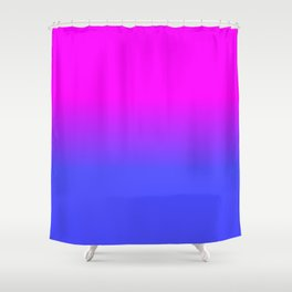 Neon Blue and Hot Pink Ombré Shade Color Fade Shower Curtain