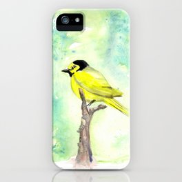 Hooded warbler in watercolor iPhone Case