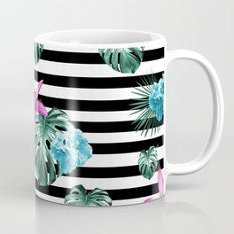 Tropical Florals & Foliage on Stripes #2 #decor #art #society6 Coffee Mug