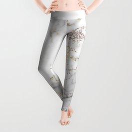 Champagne Rose Gold Blush Metallic Glitter Foil On Gray Marble Leggings
