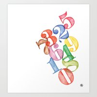 numbers Art Prints featuring Numbers by Resistenza