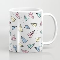 airplanes Mugs featuring Paper Planes in Pastel by Tangerine-Tane