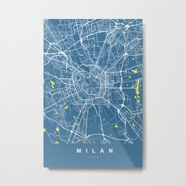 Milan Italy Map | Blue & Yellow | More Colors, Review My Collections Metal Print