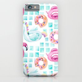 Summer flamingo pool floats. Watercolor flamingo, unicorn pool float, ring donut lilo floating in blue swimming pool. Vintage hand painted illustration pattern iPhone Case