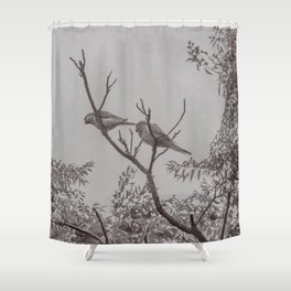 Couple of Parrots in the Top of a Tree Shower Curtain