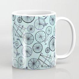 Monochrome Vintage Bicycles On Soft Blue Coffee Mug