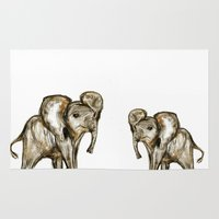 baby elephant Area & Throw Rugs featuring Baby Elephant Blue by James Peart