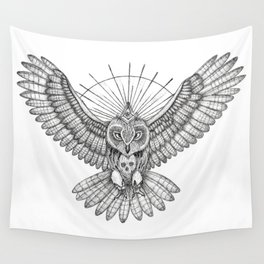 Mason Owl with skull, rule, compass and the eye that sees everything (tattoo style) Wall Tapestry