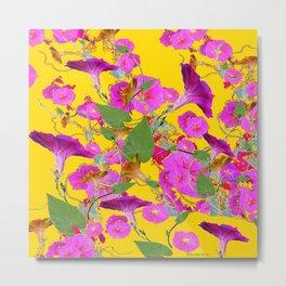 Pink Morning Glories on Golden Yellow Art Design Metal Print