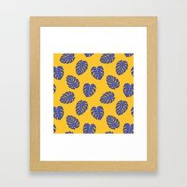 Monstera trendy - yellow purple Framed Art Print
