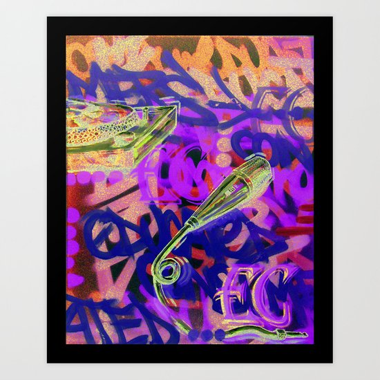 Turntables and a Mic (original sold) Art Print