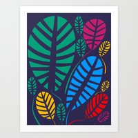 Jungle Night Pattern Floral Decoration Art Print