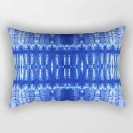 tie dye ancient resist-dyeing techniques Indigo blue textile abstract pattern Rectangular Pillow
