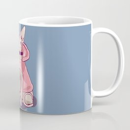 Nude Wrinkly Sphynx Cat Wearing a Pink Hoody - Pastel Colors - Soft Blue Background Coffee Mug