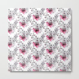 Watercolor neon pink gray hand painted floral pattern Metal Print