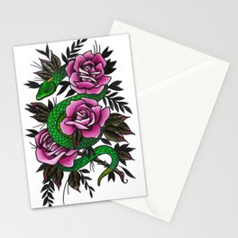Neo-traditional Snake and Roses Stationery Cards