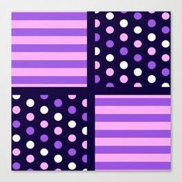 Two-Tone Ultraviolet/Pink/White Stripes/Polkadot Canvas Print