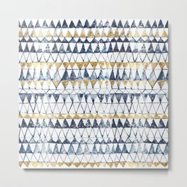 Watercolor Indigo Blue Gold Triangle Tribal Pattern Metal Print