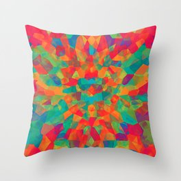 Teal Multi Colored Abstract Shapes Throw Pillow