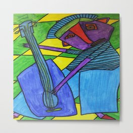 Guitar Man Playing the Blues abstract outsider folk art Metal Print