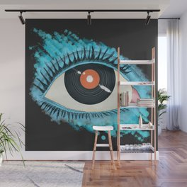 Musical vision: eye illustration with vinyl record for pupil Wall Mural