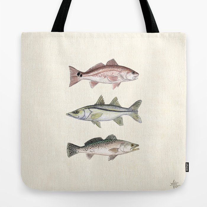 """Inshore Slam!"" by Amber Marine ~ Redfish, Snook, & Trout Watercolor Illustration, (Copyright 2013) Tote Bag"