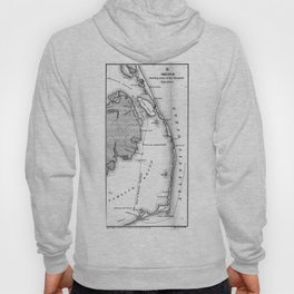 Vintage Map of The Outer Banks (1862) BW Hoody
