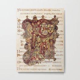 Book Of Kells Chi Rho Page On Script Metal Print