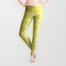 Summery Happy Yellow Honeycomb Pattern - MIX & MATCH Leggings