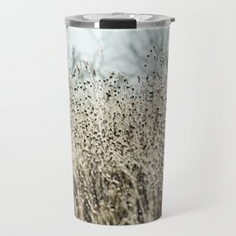 Aqua Wild meadow grass in winter Travel Mug