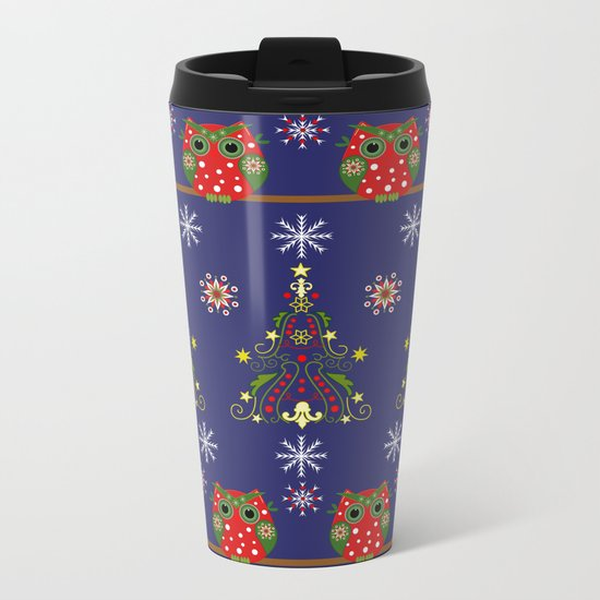 Pattern design with Christmas owls, trees and snowflakes Metal Travel Mug