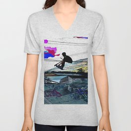 Let's Scoot! - Stunt Scooter at Skate Park Unisex V-Neck