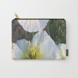 Zen White Flowers Carry-All Pouch