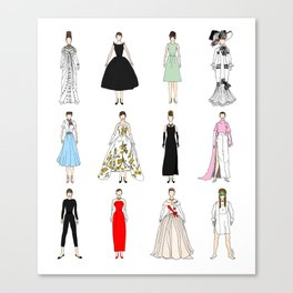 Outfits of Audrey Hepburn Fashion (White) Canvas Print
