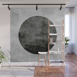 Concrete with black circle Wall Mural