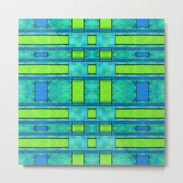Painted blue and green parallel bars Metal Print