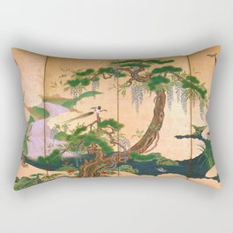 Birds and Flowers of Spring and Summer by Kano Eino (late 17th Century) Rectangular Pillow