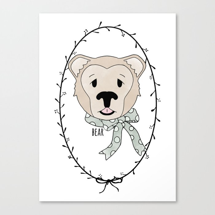 Bashful Bear Canvas Print